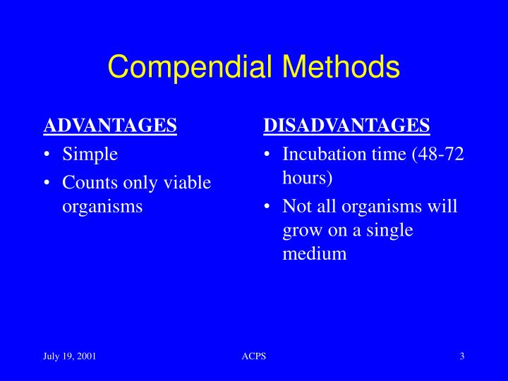 Compendial methods