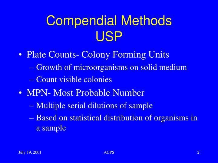 Compendial methods usp