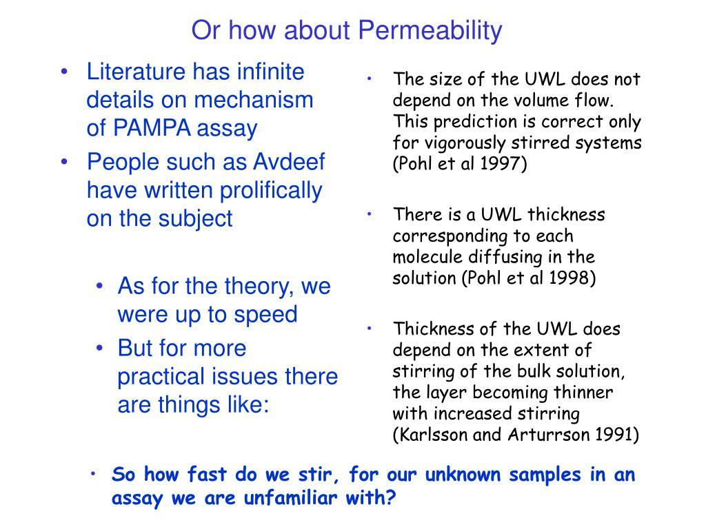 Literature has infinite details on mechanism of PAMPA assay