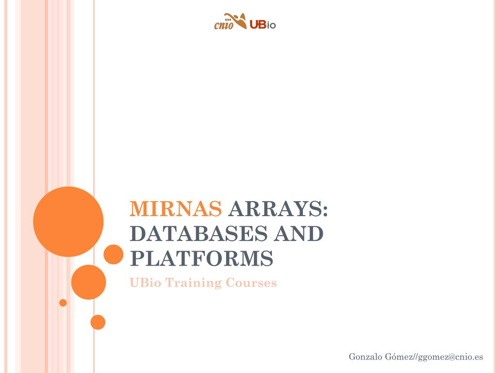 mirnas arrays databases and platforms l.