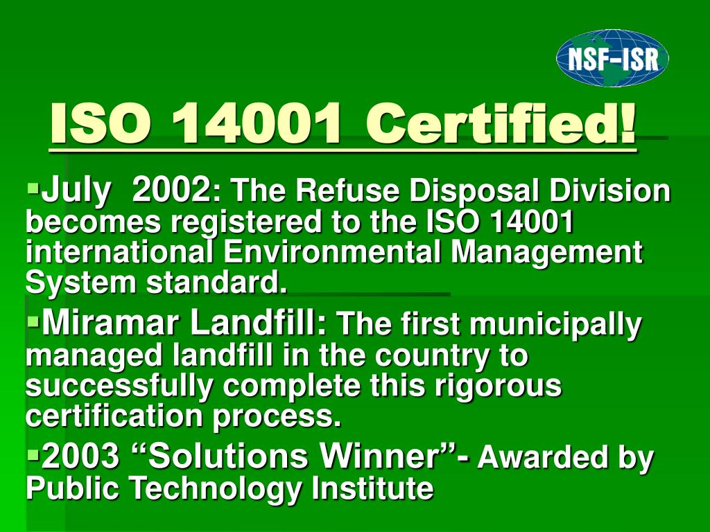 ISO 14001 Certified!