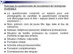 rubrique du questionnaire de recrutement de l entreprise pharmex