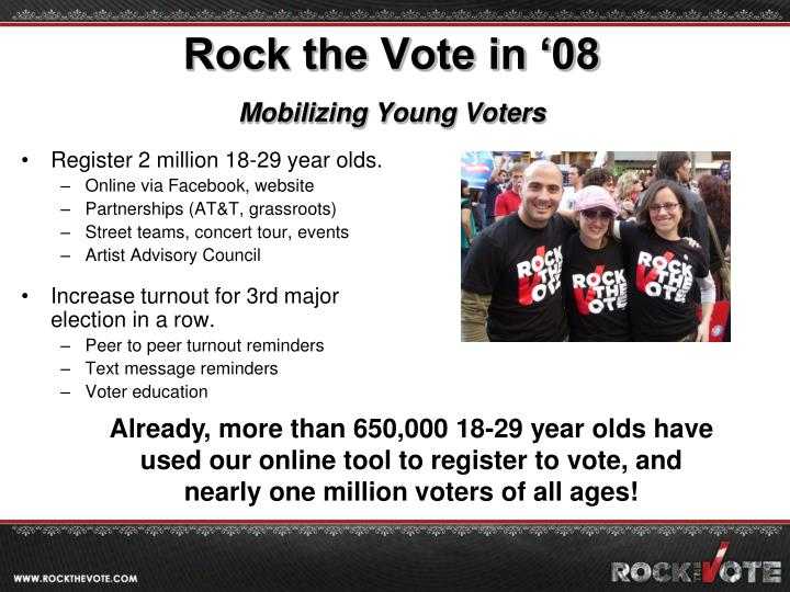 Rock the vote in 08 mobilizing young voters
