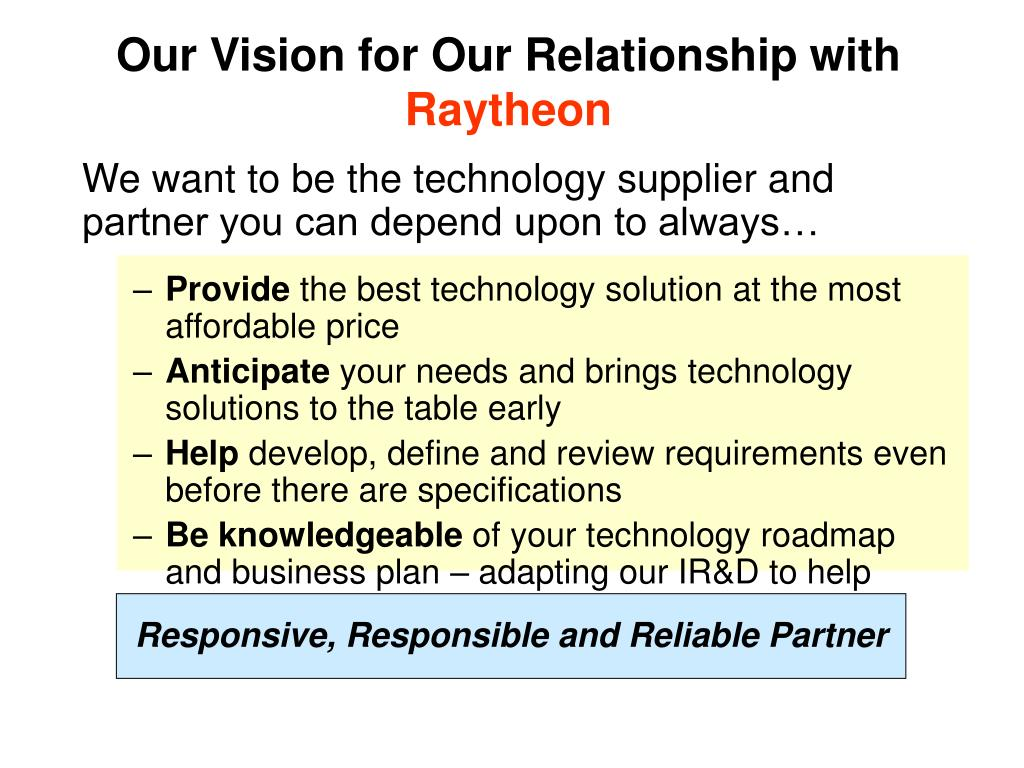 Our Vision for Our Relationship with