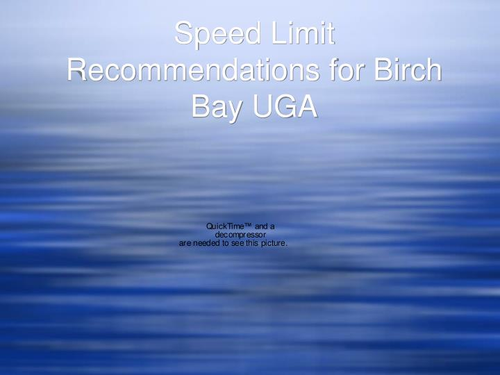 speed limit recommendations for birch bay uga n.