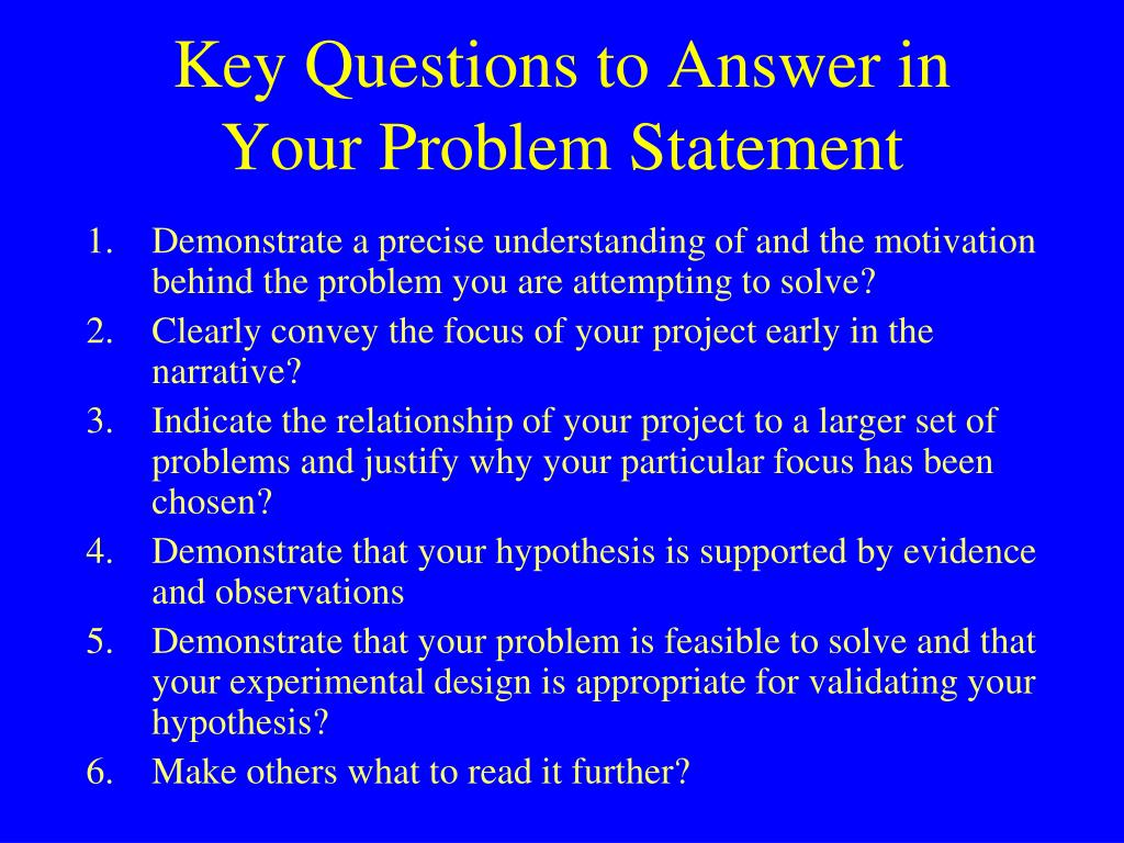 Key Questions to Answer in Your Problem Statement