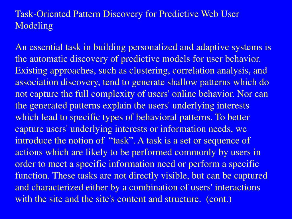Task-Oriented Pattern Discovery for Predictive Web User Modeling