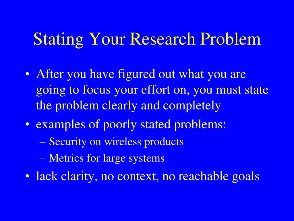 Stating Your Research Problem