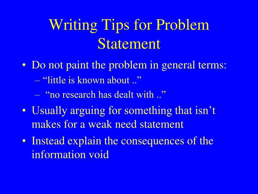 Writing Tips for Problem Statement
