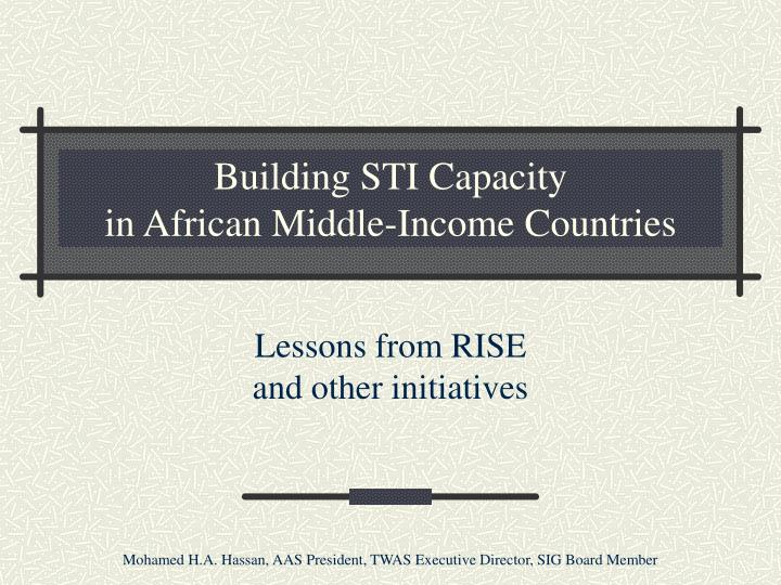 building sti capacity in african middle income countries n.