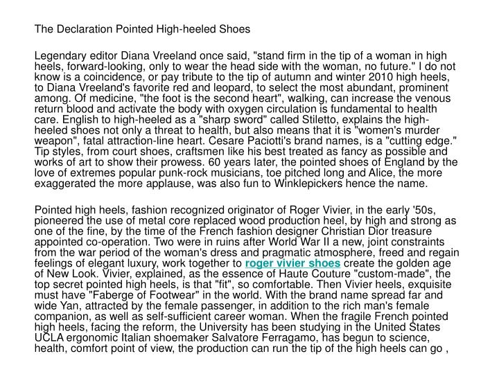 The Declaration Pointed High-heeled Shoes