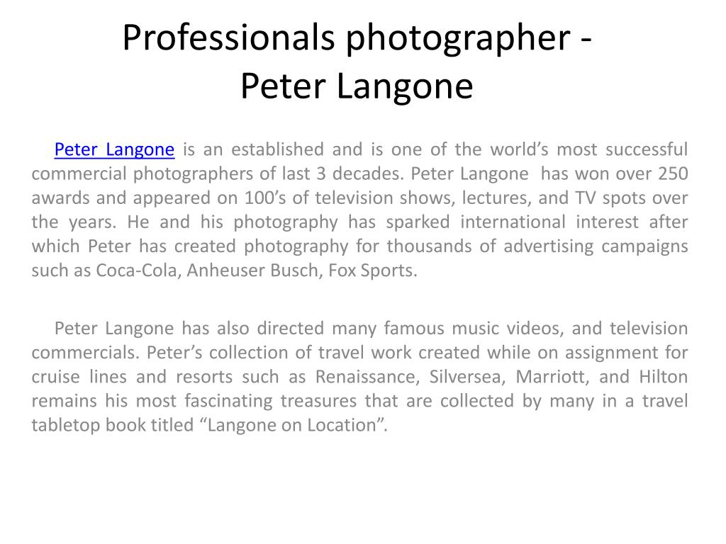 professionals photographer peter langone l.