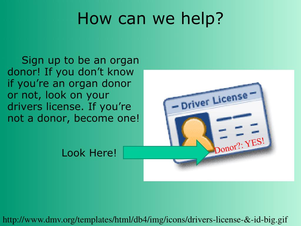 Sign up to be an organ donor! If you don't know if you're an organ donor or not, look on your drivers license. If you're not a donor, become one!