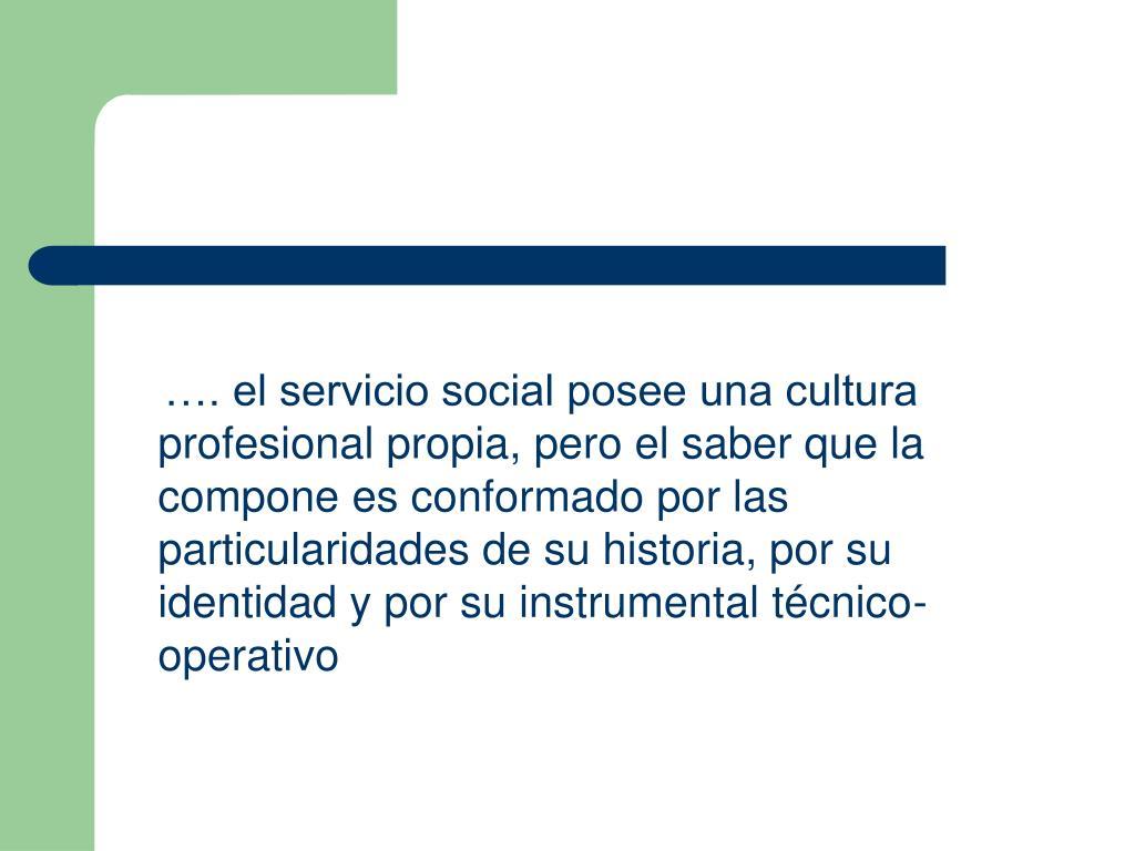 …. el servicio social posee una cultura profesional propia, pero el saber que la compone es conformado por las particularidades de su historia, por su identidad y por su instrumental técnico-operativo