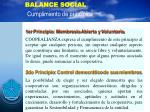 balance social cumplimiento de principios