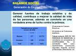 balance social generaci n de empleo