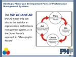 strategic plans can be important parts of performance management systems
