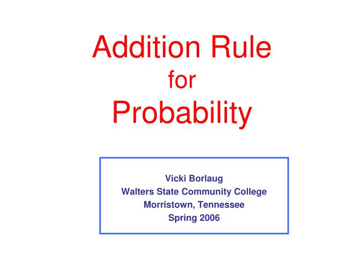 addition rule for probability n.