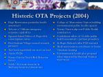 historic ota projects 2004