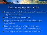 take home lessons ota