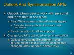 outlook and synchronization apis