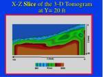 x z slice of the 3 d tomogram at y 10 ft