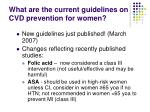 what are the current guidelines on cvd prevention for women