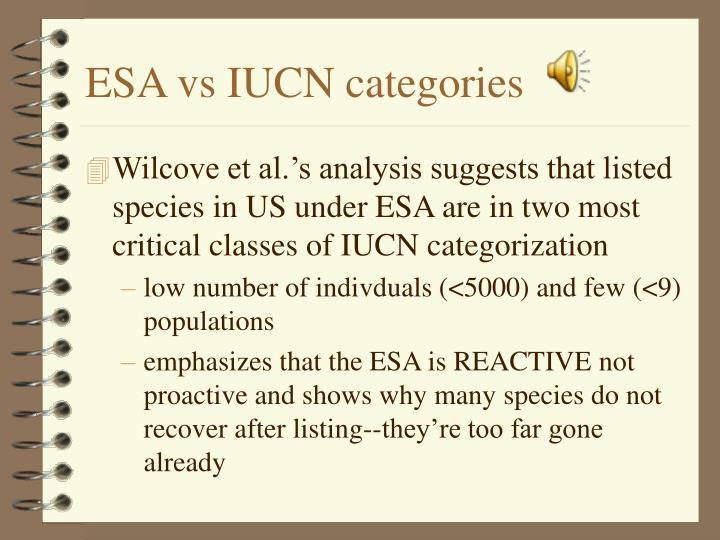 ESA vs IUCN categories