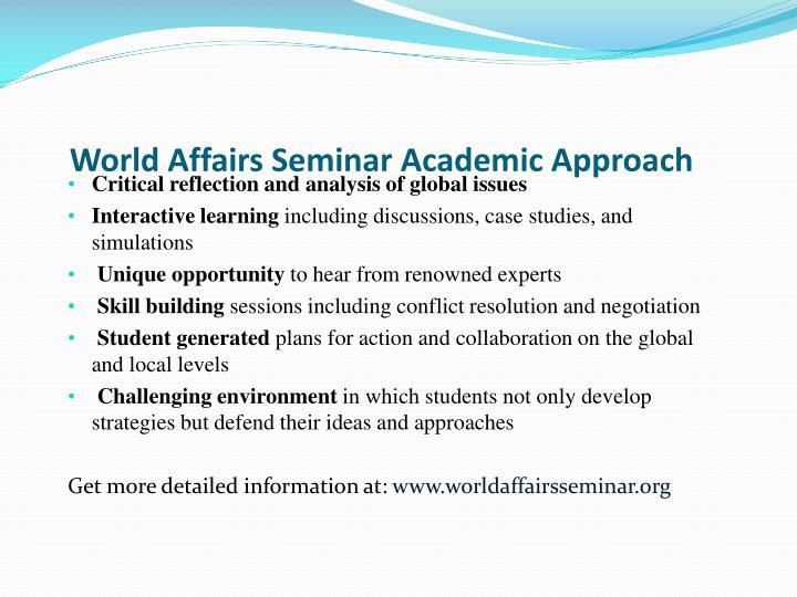 World Affairs Seminar Academic Approach