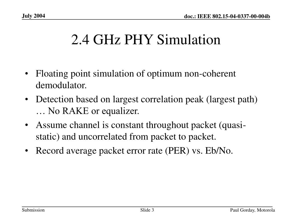 2.4 GHz PHY Simulation