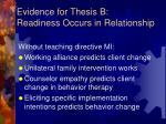 evidence for thesis b readiness occurs in relationship