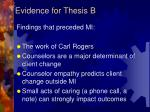 evidence for thesis b