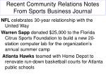recent community relations notes from sports business journal