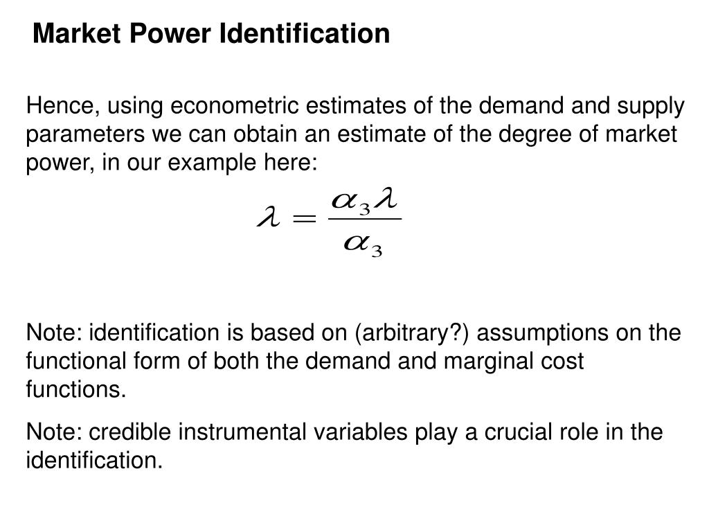 Market Power Identification