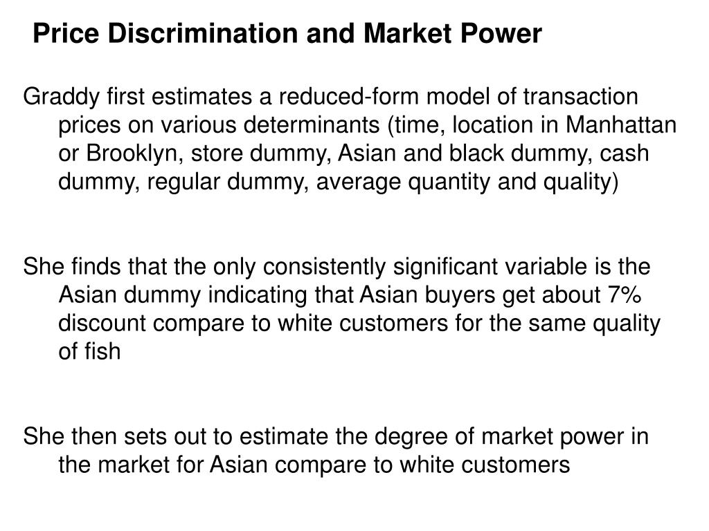 Price Discrimination and Market Power