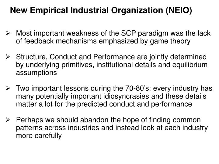 New Empirical Industrial Organization (NEIO)