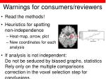 warnings for consumers reviewers