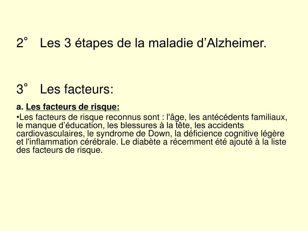 2° Les 3 étapes de la maladie d'Alzheimer.
