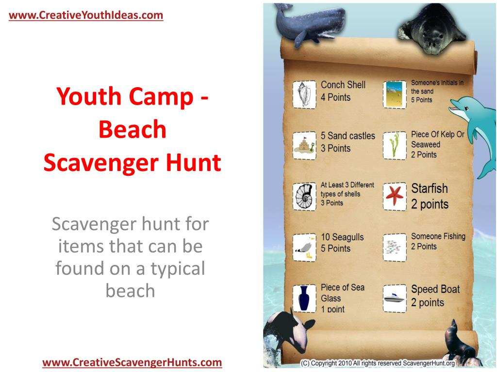 youth camp beach scavenger hunt l.