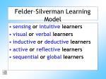 felder silverman learning model