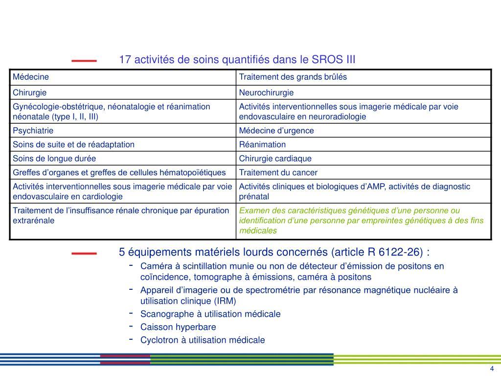 17 activités de soins quantifiés dans le SROS III