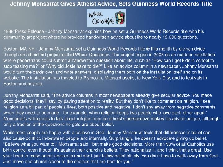 Johnny Monsarrat Gives Atheist Advice, Sets Guinness World Records Title