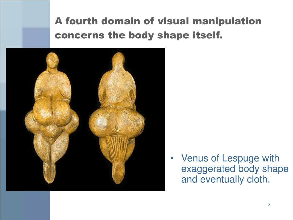 A fourth domain of visual manipulation concerns the body shape itself.
