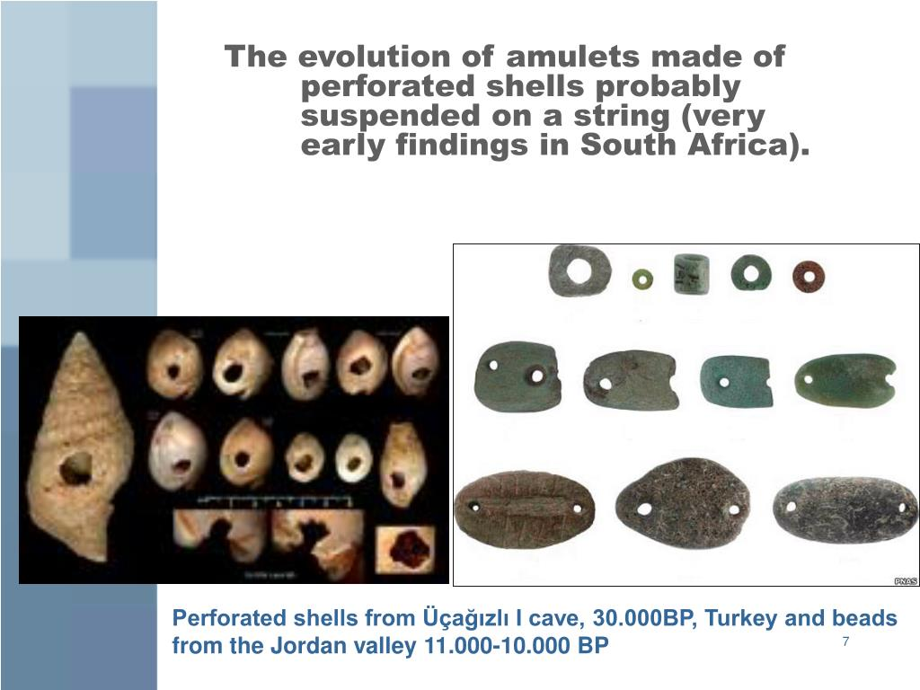 The evolution of amulets made of perforated shells probably suspended on a string (very early findings in South Africa).