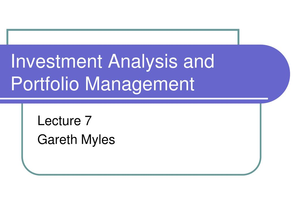 investment analysis and portfolio management l.