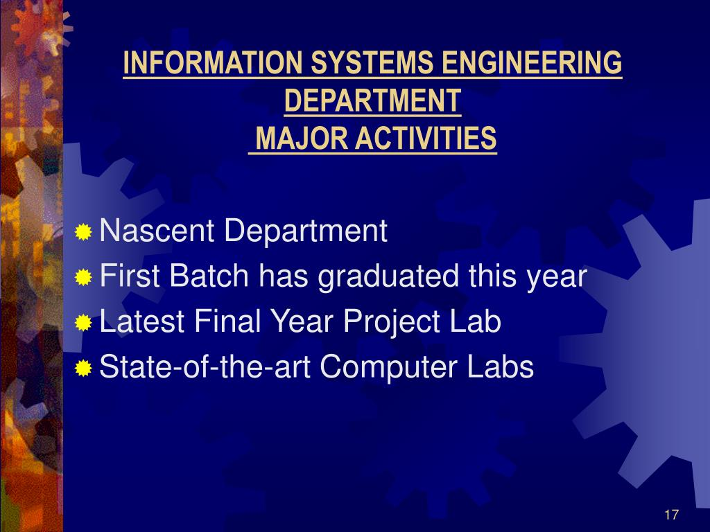 INFORMATION SYSTEMS ENGINEERING DEPARTMENT