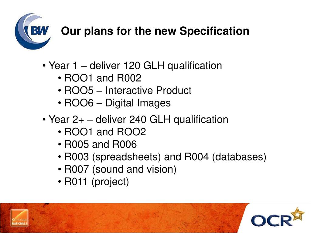 Our plans for the new Specification