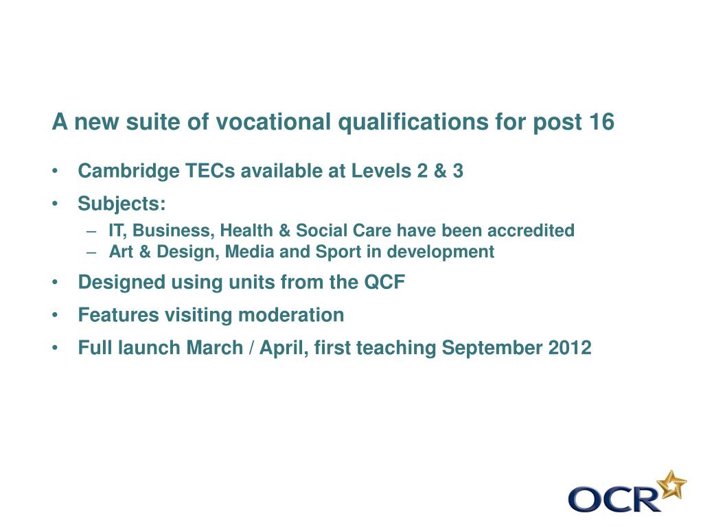 A new suite of vocational qualifications for post 16