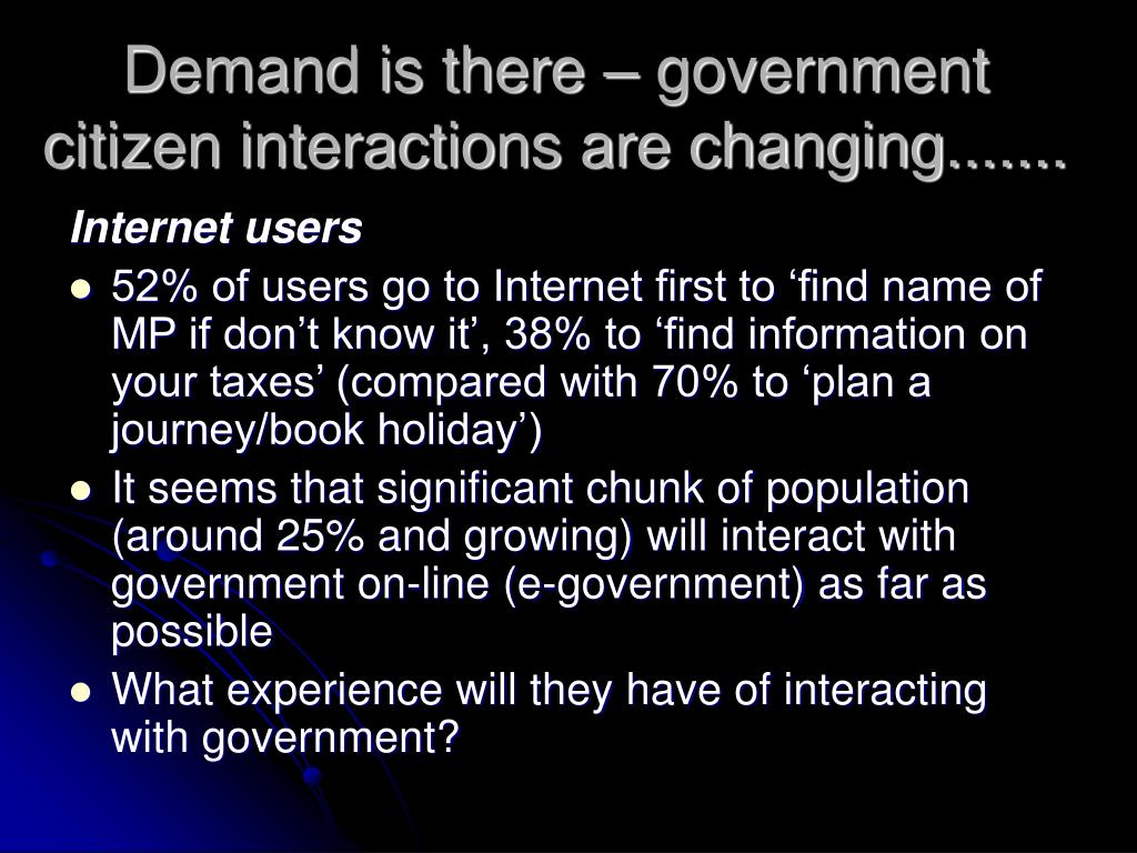 Demand is there – government citizen interactions are changing.......
