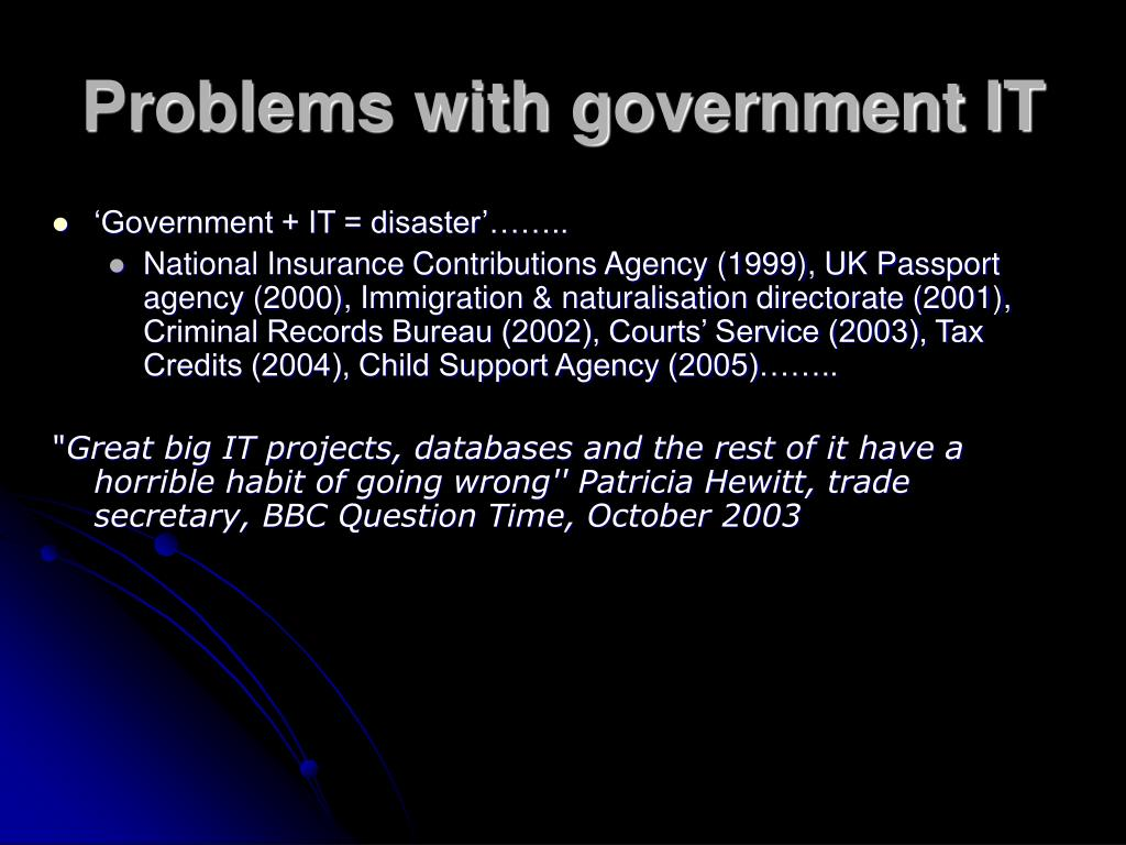 Problems with government IT